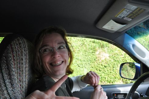 Me in the driver's seat, goofing with Tara as we waited at a stop light.