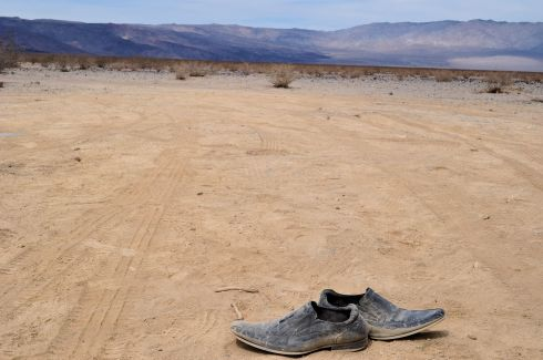 "Isn't this hilarious? We pulled over to take photos of the ""Welcome to Death Valley"" sign, and these shoes were begging to be photographed."