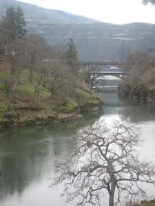 Double bridges span the Klickitat River on the Washington side, but they are clearly visible from the Oregon side.