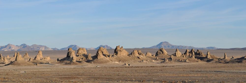 The Trona Pinnacles in the setting sun.