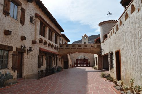 The courtyard of Scotty's Castle. Family living quarters on the left, and guest quarters on the right.