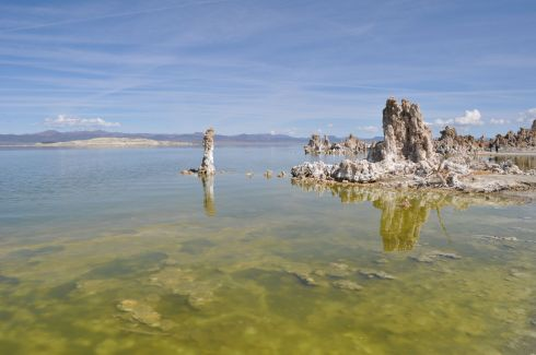 The solitary tube standing alone out there is a good illustration of how each tufa spire begins as a formation around a spring bubbling up from underground.