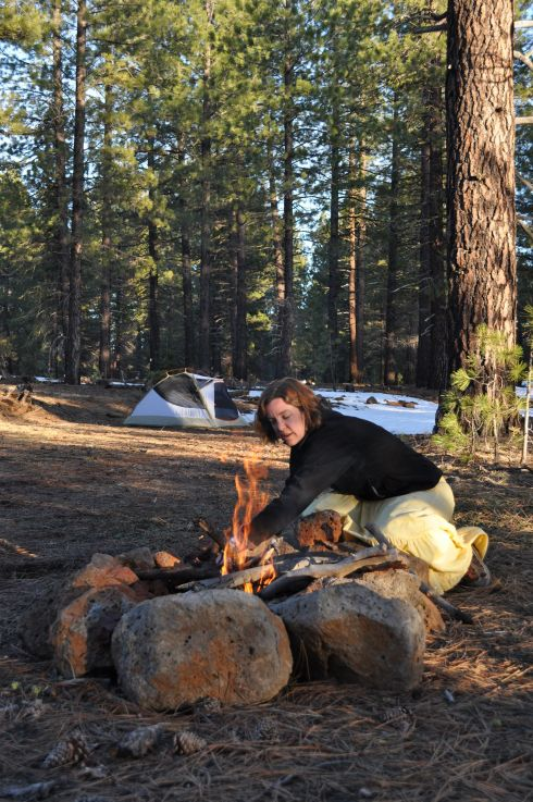 Getting the fire going in Lassen National Forest