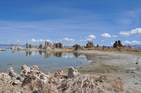 tufa pinnacles reflect in the water at Mono Lake