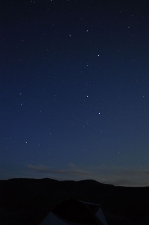 Our tent, beneath the Big Dipper, in Greenwater Valley