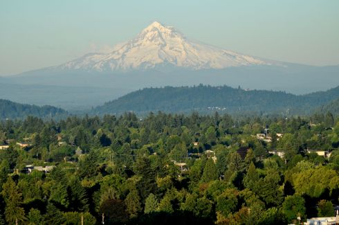 Mt. Hood in the setting sun, from Mt. Tabor