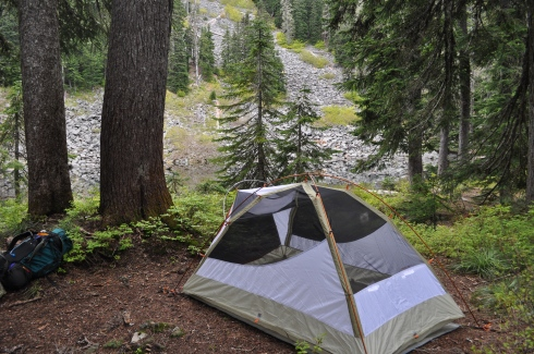 The tent beside the water, and also beside an outflow creek that provided a lovely gurgling sound to go to sleep to.
