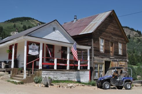 The two main shops in town: Pat's What Not Shop and the Silver City Fire & Rescue Store