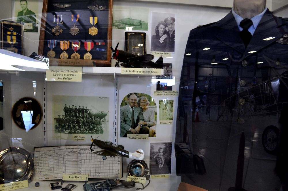 There were many cabinets such as this one that tracks, through the placement of mementos, the history of an Air Force pilot and his wife, and their impressive careers.
