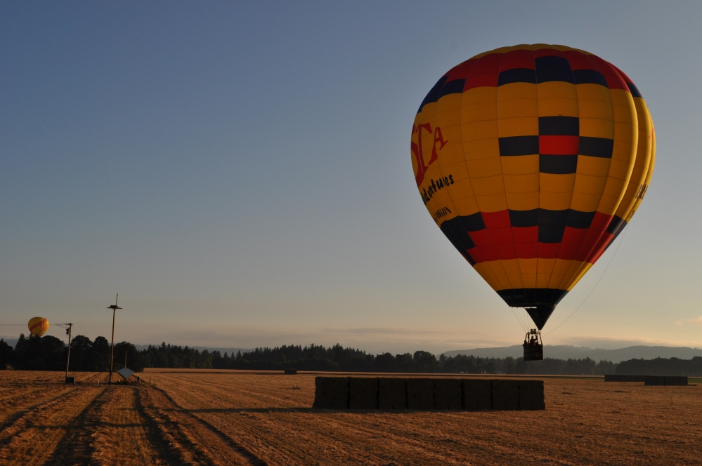 It looked like the balloon was about to set down onto a hay bale