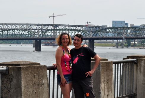 Eliot, me, and some of our fair city's bridges in the background.