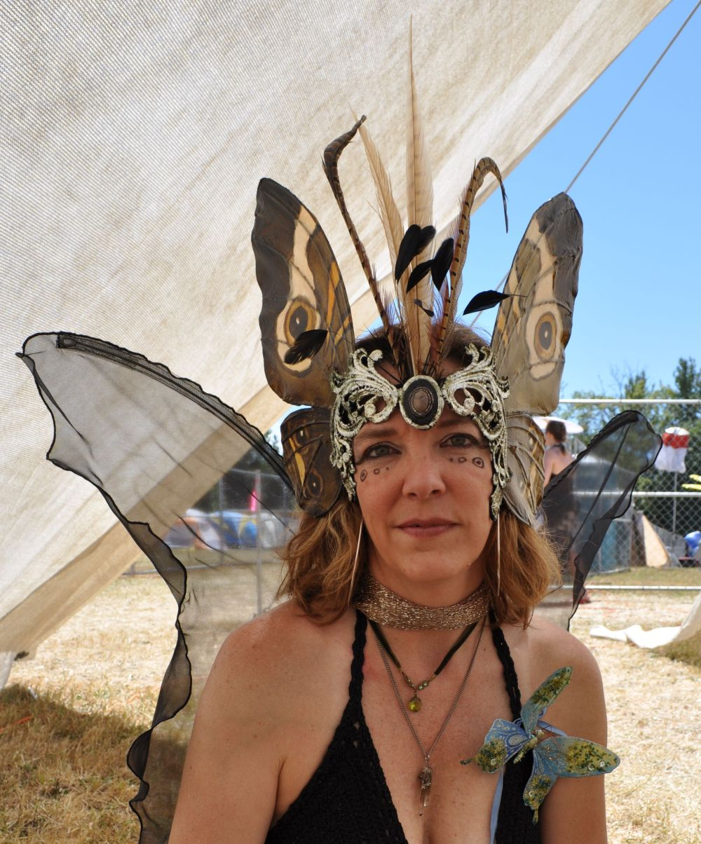 My new headdress, modeled after a buckeye butterfly