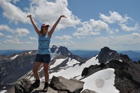 My signature pose when I get to a high spot. I'm on top of Old Snowy, and that's the sharp ridgeline stretching to the south behind me.