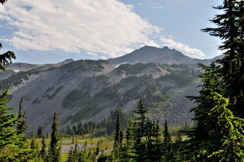Our view of Old Snowy Mountain from the Lily Basin Trail. That round hump on top is the point we climbed to.