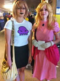 My daughter and her friend on day 1: Rose, from Homestuck and Princess Peach from Mario games
