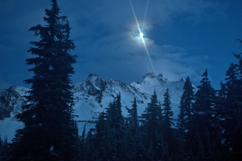 The moon waxing over Mt. Jefferson, as viewed from camp.