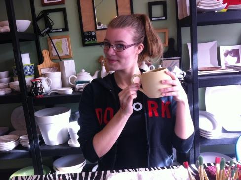 Miss T shows me her honeycomb mug