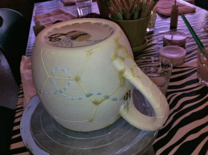 Tara's honeycomb mug with bees