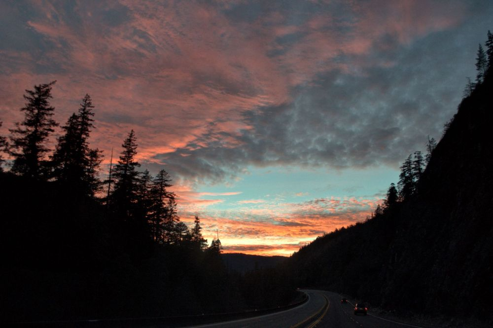 Sunset over highway 199 between Grants Pass and Crescent City