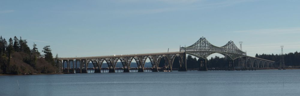 Conde McCullough Memorial Bridge, in North Bend, Oregon