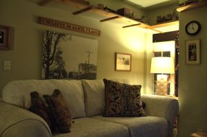 Cozy book room beside the guest kitchen.