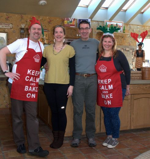 Sherwood, me, Arno, Stephanie. They are wearing their Christmas gift aprons. (I'm in my socks!)