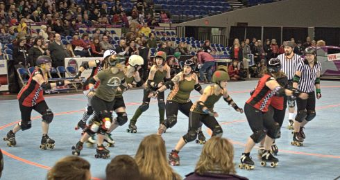 D.L.F. and the Break Neck Betties battle it out at the Memorial Coliseum