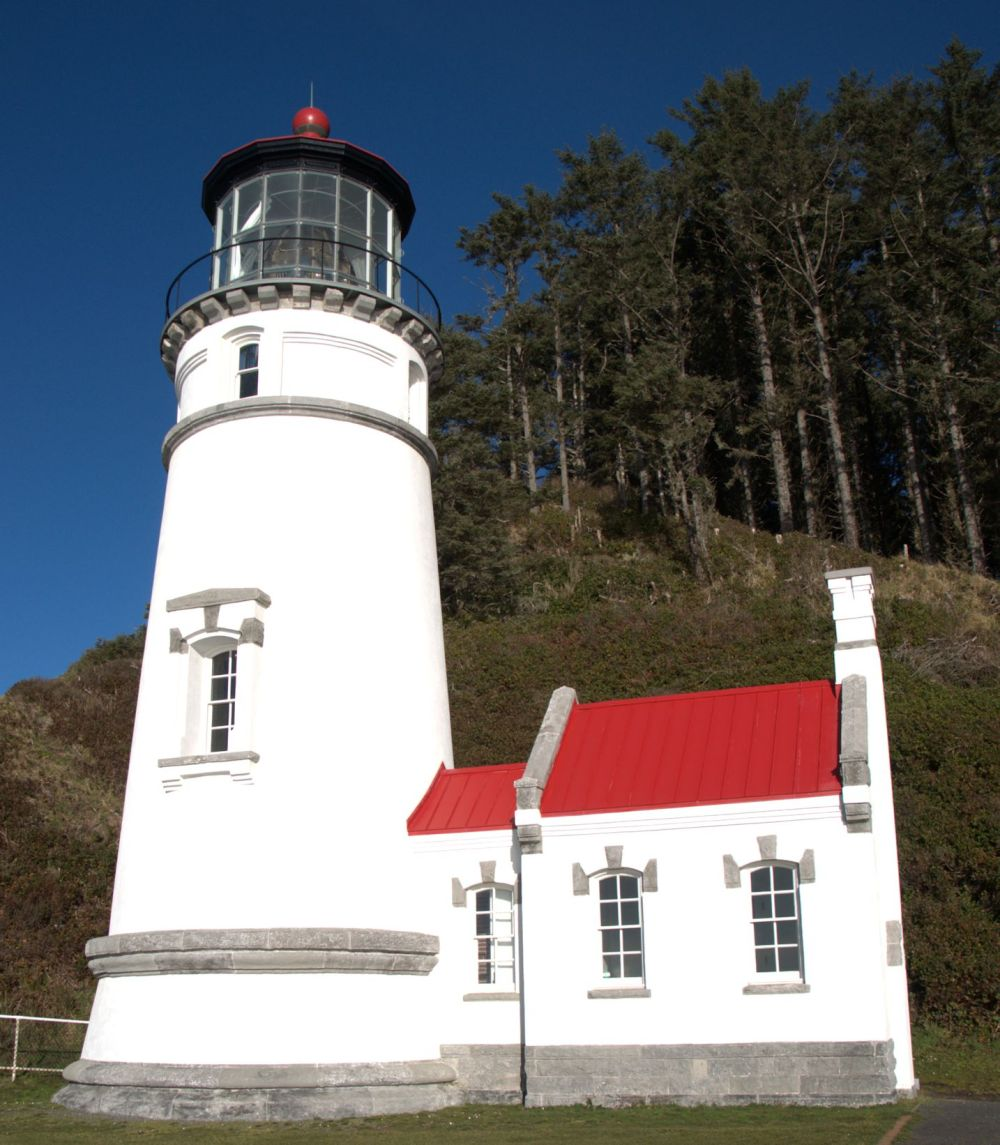 Heceta Head lighthouse is all by itself at the head, and so picturesque.