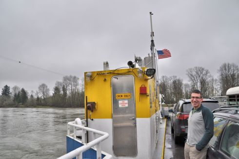 Arno in the middle of the swollen Willamette River