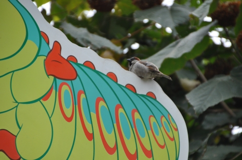 Sparrow resting on a sign in the shape of a caterpillar with a name and a ridiculous fake German accent.