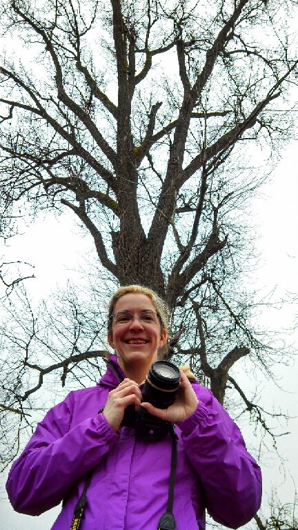 Me, in front of the cottonwood tree. (Look at the horrible bands I now have to wear on my braces. Vampire girl.)