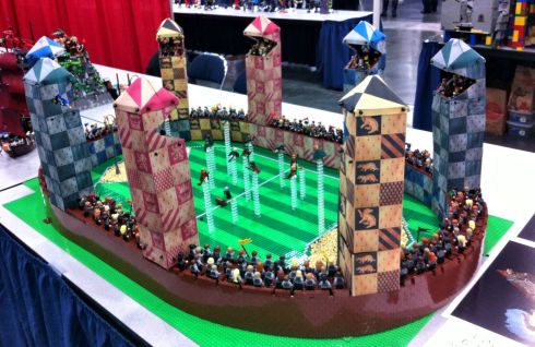 The Quidditch pitch at Hogwarts School of Witchcraft and Wizardry