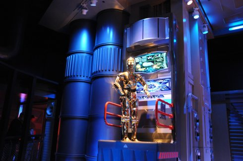 C3PO was on duty at Star Tours and kept us entertained while waiting in line.