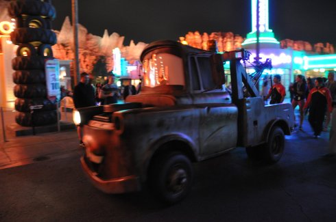 My very favourite character to meet was Mater, but he drove by so fast I couldn't get a sharp image at night.