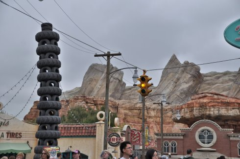 Looking at the rock cliffs from the downtown Radiator Springs community.