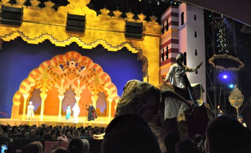 We caught the Aladdin show, and saw Jasimine, Jafar, and Aladdin himself there on an elephant in the audience.