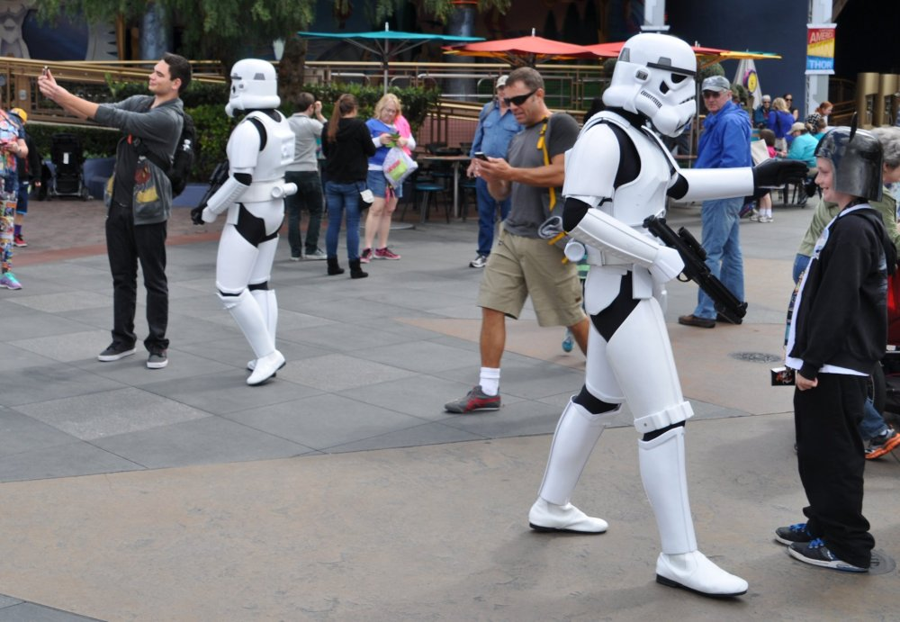Storm Troopers in Tomorrowland. Selfie in progress, there in the background.