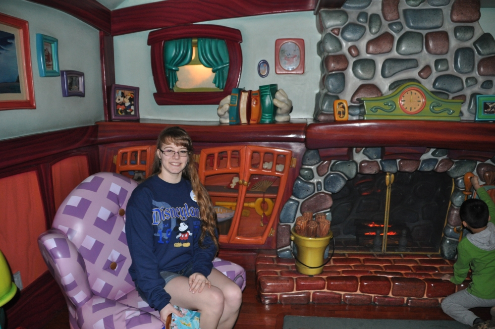 Inside Mickey Mouse's house in Toon Town.