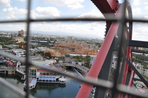 View of Radiator Springs from the Ferris wheel at Paradise Pier.