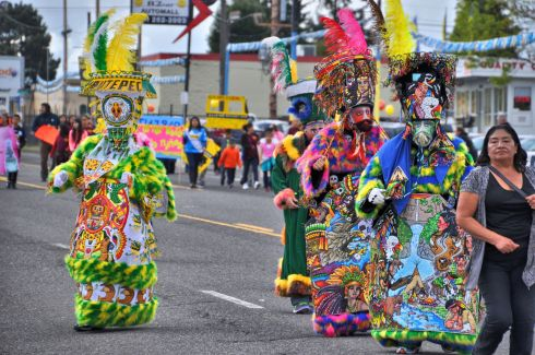 The stunning costumes of the the dancers Comparsa Orgullo Morelense Cemiac. Tara pointed out that the historic traditions illuminated are Aztec.
