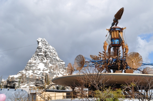 A rare moment of sunshine during our trip lit up the Matterhorn while we were standing in line for Space Mountain.