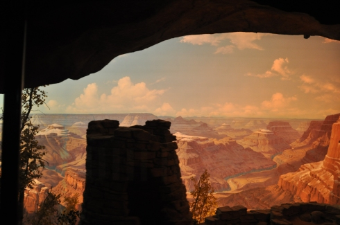 Another traditional trip around the park is on the train, with an underground section revealing scenes of the Grand Canyon and taking riders back through time with animated dinosaurs.