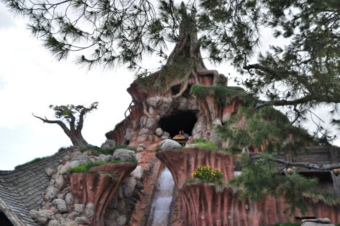 Daring adventurers get ready for a giant drop on Splash Mountain.
