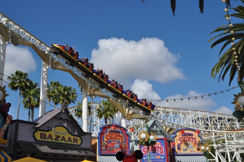 Another shot I like, as the rollercoaster flashes overhead above Toy Story Midway Mania!