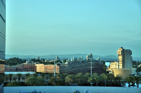 View of the park from our Hilton room. You can see the backdrop to Cars Land, and the Tower of Terror.