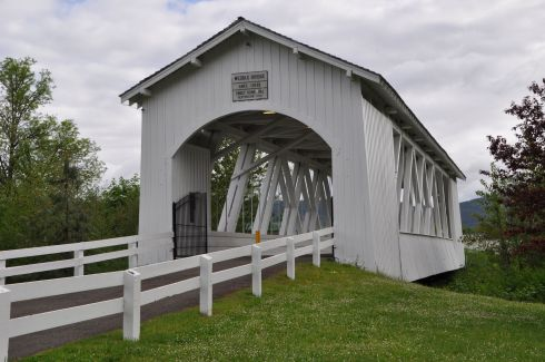 Weddle Bridge now sits in a place of honor in Sweet Home, Oregon. It was originally built near Crabtree, Oregon.