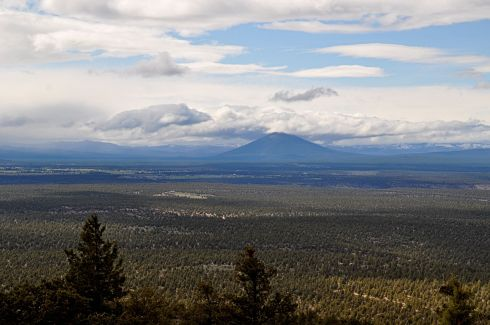 View of Black Butte from Cline Buttes. From here you can tell it was formed by a volcanic eruption.