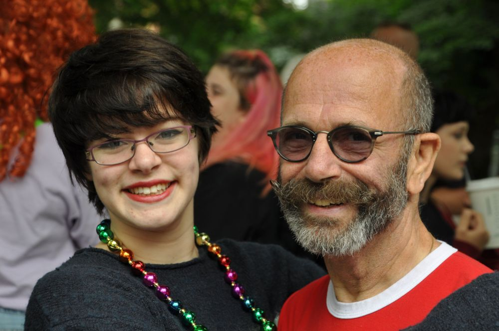 Tara and my Uncle Jim in the staging area. She was between floats 50 and 51, and he was float 79, so even though the parade had started at this time, we were still at leisure.