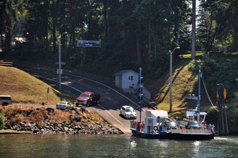 The Canby ferry, M.J. Lee II, on the Willamette River.