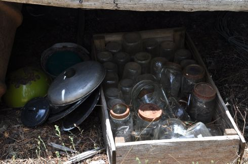 I can't tell you how deeply this image pulls at my heart. The canning jars and rusted pots out in a ramshackle shed because the house is too small, are a mirror of my childhood in north Idaho with my mom.